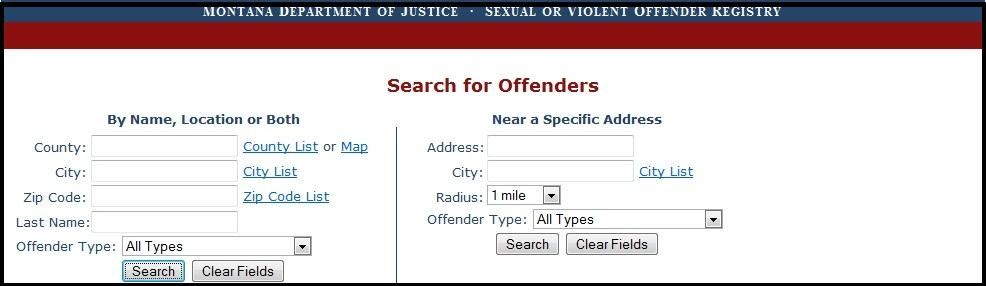 Sexual and violent offender registry montana
